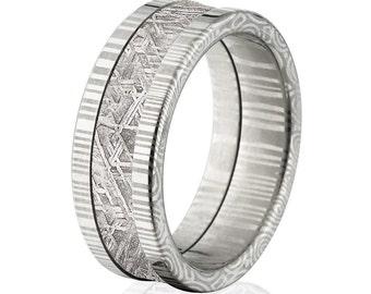 8mm Wide Meteorite Bands w/ Comfort Fit Damascus Steel, Meteorite Rings: DS-8F-Meteorite