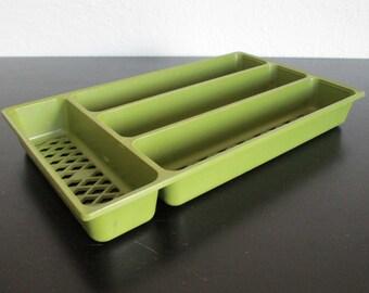 Avocado Green Hard Plastic Vintage Silverware Flatware Organizer Tray