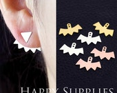 Nickel Free - High Quality Ear Jackets Golden / Silver / Rose Gold Brass Earring Jackets for Ear Cuffs and Front Back Earrings (EJ013)
