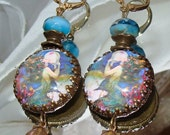 Mermaid and the pearl cabochon image bead charm Picasso earrings Pamelia Designs Sacred Jewelry