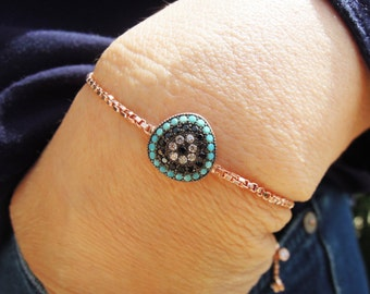 Turkish evil eye bracelet - gift for bride - tennis bracelet - mother of the bride - bride gift - mother of the groom gift - bridesmaid gift