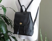 Vintage COACH Backpack Large Black Leather Brass Hardware Made in United States