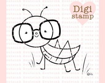 Nerdy Grasshopper Digital Stamp - Grasshopper Digital Stamp - Digital bug Stamp - Grasshopper Art - Bug Card Supply - Bug Craft Supply