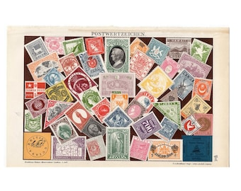 1903 STAMPS ANTIQUE LITHOGRAPH original antique print of international postage stamps