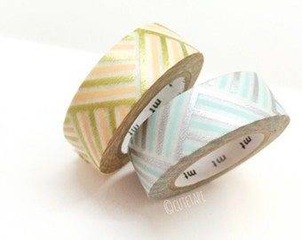 Japanese peach blue Pretty Washi Tape set of 2 silver gold