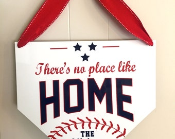 There's No Place Like Home Baseball Sign - Personalized Sports Sign - Home Plate Sign - Custom Baseball Sign - Boys Bedroom - Baseball Decor