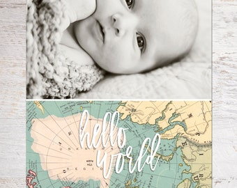 Photo Birth Announcement - Baby Announcement - Hello World - Welcome to the world Baby - Baby Photo Announcement - Hello Baby  (baby no. 11)