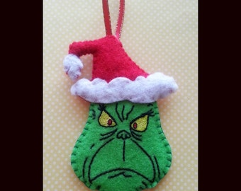 Handsewn How the Grinch Stole Christmas ornament, Dr. Seuss Ornament, Christmas decoration, Felt ornament, Grinch ornament