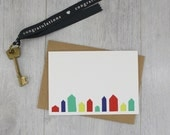 New Home Card - House Card - Greeting Card - Housewarming Gift - Moving Card - Blank Card - Pack of Cards - Beach Hut Card - Stationery