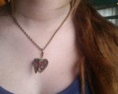 Heart Locket, Heart Dragon Locket, Opal Necklace, Mexican Fire Opal Necklace, Dragon Breath Necklace, Locket, February gifts, Valentine Gift
