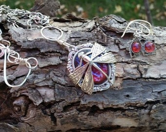 Dragonfly Wrapped Fire Opal Necklace & Earrings, Opal set, Dragon Breath Necklace, Mexican Fire Opal Necklace, Prom, Mother's Day, Grad gift
