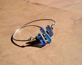 Blue Aurora Borealis Raw Crystal Qurartz Point Sterling Silver Bangle