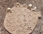 8 Assorted BISQUE texture STAMPS for CLAY, pmc, fimo, and more!
