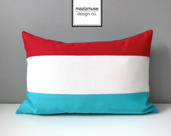 Luxembourg Flag Pillow Cover, Decorative Outdoor Pillow Case, Red White Blue Turquoise, Luxembourg Cushion Cover, Sunbrella, Grand Duchy