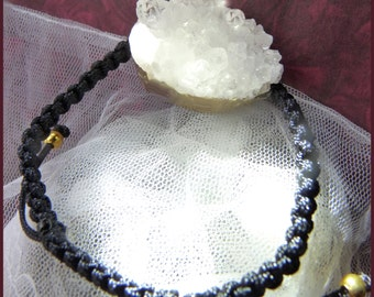 White Druzy Crystal.  Both in Navy Blue and in Black  One size fits all bracelet.  Please specify which color. DC 9110