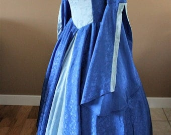 "Bust 39""Light and Dark Blue Tudor Dress Ever After Renaissance Medieval Gown Game of Thrones Theme Wedding"