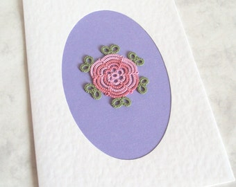 Rose Greeting Card - Pink Rose , Green Leaves - Handmade in Tatting Lace - Blank Inside