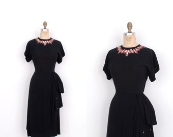 Vintage 1940s Dress / 40s Ombre Sequined Rayon Evening Dress / Black and Pink (medium M)