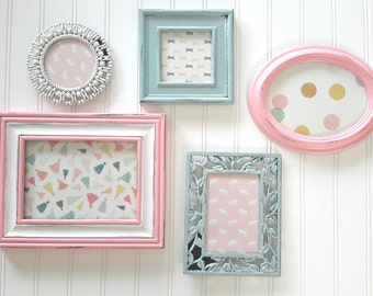 SHABBY CHIC Pink and Blue Picture Frame Set, Wall decor, Gallery Wall, Nursery Decor, Cottage Chic Decor, Hand Painted Picture Frames