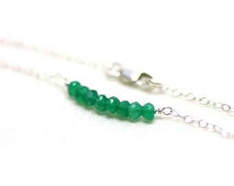 Very Fine Green Onyx Layering Bracelet on Sterling Silver | Minimal, Modern, Everyday Wear | Rich Green Gemstones | P'tite Jolie by Azki