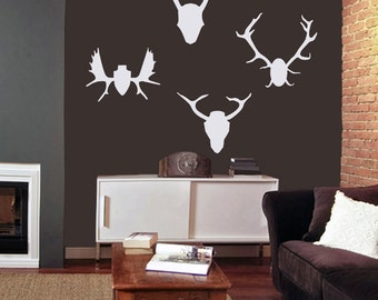 Mounted Antlers Set - Animals Man Cave Wall Decals