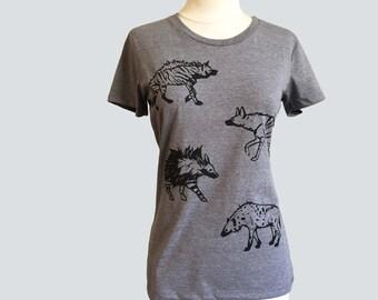 Women's Hyena T Shirt Gray Organic