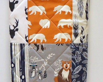 Baby Quilt-Rustic Baby Boy Bedding-Navy Blue-Orange_Gray-Modern Woodland Crib Blanket-Aztec-Arrows-Forest Animals-Buck-Bear-Feathers