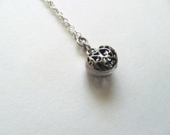 Vintage sterling silver filigree ball pendant necklace, sterling charm