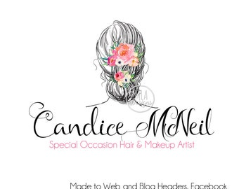 Hair Stylist Logo -  Watercolor logo, Makeup Artist Logo, Hair Dresser Logo, Wedding Logo, Hair Artist Logo, Custom Logo, Makeup Artist Logo
