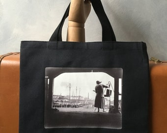 """Boston Harbor Artist - Vintage 1920s Photograph - I,age Transfer on Black Canvas Essentials Tote -  More info in """"Item Details"""""""