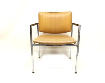 Vintage Chrome Base Chair In Mustard Vinyl