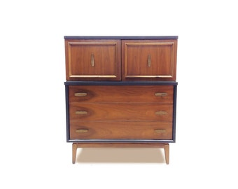 Vintage Highboy In Black and Wood
