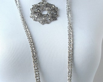 Silver Layered Necklace, Long Medallion Necklace, Multi Chain Necklace, Silver Leaf Necklace, Statement Necklace