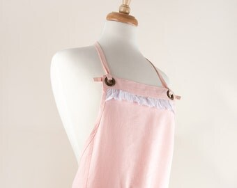 Linen Apron, Full Apron. 100% Linen. Light Pink color with Cotton Eyelet lace trim.