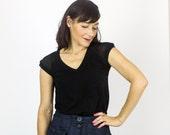 Milk 2.0 t-shirt CH01 / Black Chiffon shoulder detail - Black bamboo top