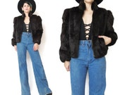 80s Brown Rabbit Fur Jacket Rabbit Fur Coat Cropped Fur Jacket Real Fur Disco Studio 54 Boho Rocker Womens Warm Winter Fur Coat (XS/S)