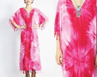 Vintage Tie Dye Fringe Dress Boho Festival Caftan Dress Long Maxi Beach Dress Pink Tie Dye Dress Short Sleeve Pullover V Neck Dress (L)
