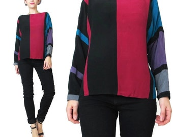 1980s Striped Silk Blouse Womens Long Sleeve Silk Blouse Color Block Silk Shirt Slouchy Dolman Sleeve Black Blue Hot Pink Purple (S/M)
