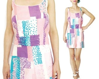 Vintage 1960's Romper Cole of California Playsuit Pink Cotton Swim Suit Pinup Atomic Abstract Print Romper Womens Summer Onesie (M/L)