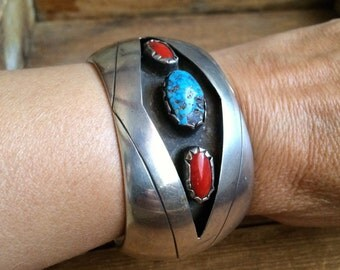 1970s 73gm sterling silver bracelet turquoise and red coral, cuff bracelet, turquoise jewelry, Native American jewelry, Southwestern jewelry