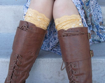 Golden Yellow Lace Boot Cuffs, Boot Accessories, Lace Boot Socks Buttons, Gifts for Teen Girl, Small Gifts for Women, Lace Leg Warmer