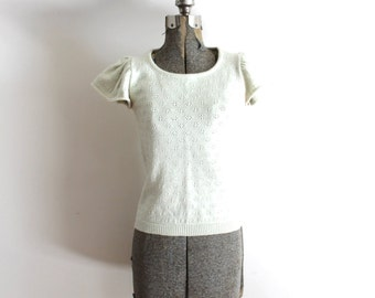 70s Flutter Sleeves Blouse / 1970s Ivory Boho Knit Sweater Blouse