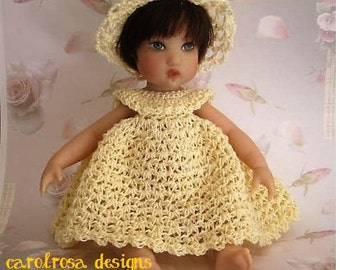 Crochet Pattern - Dress, Hat and shoes for Doll such as Kish Poppy