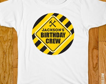 "Construction Party Iron-On Shirt Design - ""Birthday Crew"" - Choose adult, child, or onesie size"