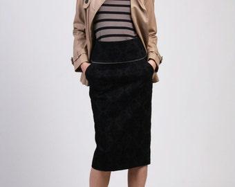 High Waist Denim Pencil Skirt with Pocket, Black Denim Skirt, Straight Skirt, Tailored Skirt - Textured Black Denim with Tiny Lace Trim