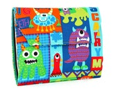 Scary Monsters Deluxe Crayon Wallet with option to add a name, Crayon organizer, Art wallet, Crayon keeper, Art kit, Handmade toy