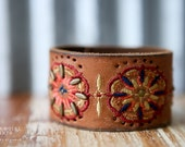 CUSTOM HANDSTAMPED CUFF - bracelet - personalized by Farmgirl Paints - brown leather cuff with stitched design, cutouts and studs