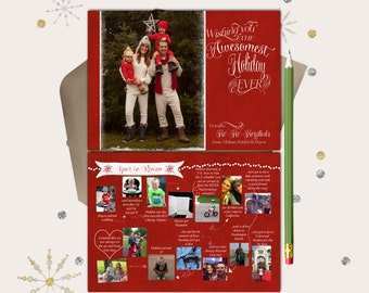 Awesomest Holiday Ever · Year in Review Christmas Photo Cards · include 15 Photos · Custom Year in Review Cards