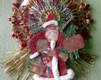 Santa Vintage Look Ornament Victorian-Reprodution Of Vintage Postcard,Spun Glass,Vintage Tinsel,German Dresdens,German Lametta Icicles