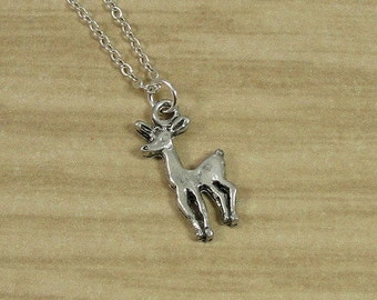 Doe Necklace, Silver Doe Charm on a Silver Cable Chain